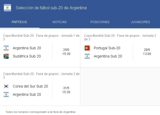 Argentina Sub 20 Fixture